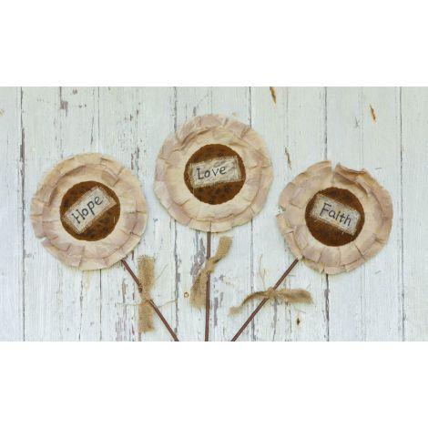 Fabric Sunflowers On Wooden Stems - Love, Hope, Faith