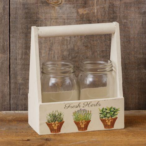 Wooden Box - Glass Jars, Fresh Herbs