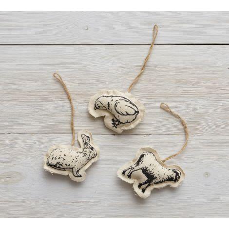 Ornaments - Rabbit, Chick, Sheep