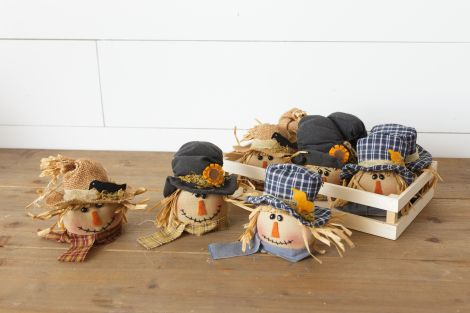 Wooden Crate Of Scarecrow Head Ornaments