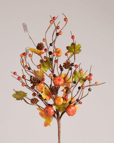 Pick - Pumpkins, Pinecones & Autumn Berries On A Twig Base