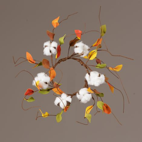 Candle Ring - Cotton, Green And Yellow Leaves (Pk 2)