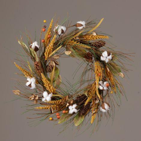 Wreath - Cotton Cones Seed Pods Pine Millet Berries