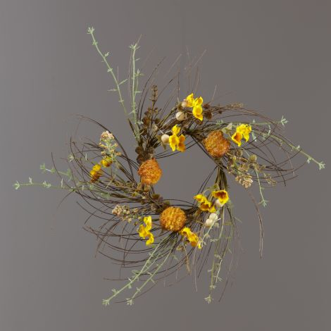 Candle Ring - Thistle, Gold Mini Flowers, Fall Foliage
