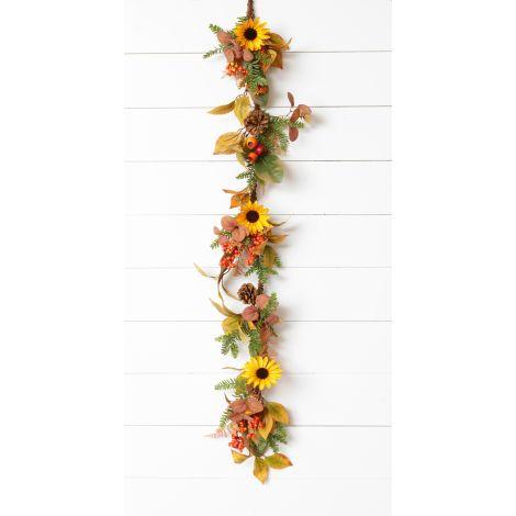 Garland - Sunflower, Pods, Assorted Foliage