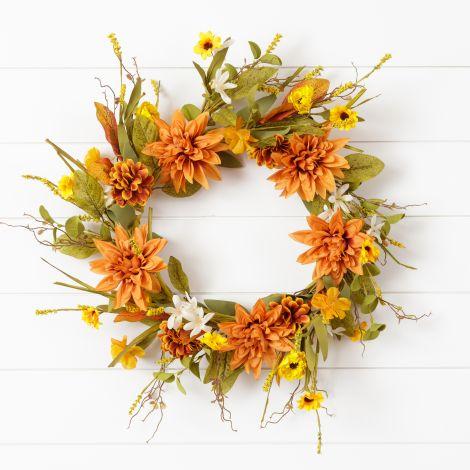 Wreath - Salmon Dahlias And Assorted Fall Flowers