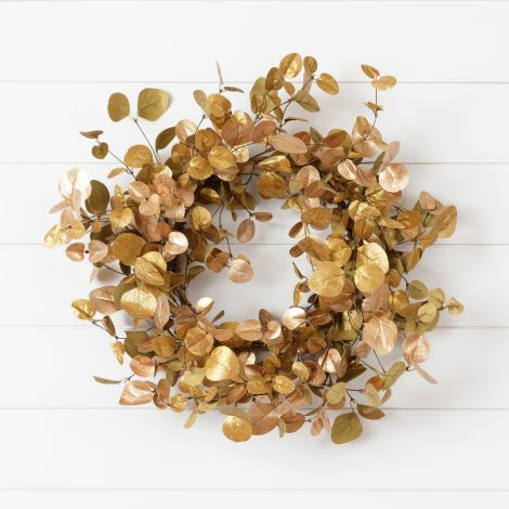 Wreath - Shimmer Gold With Copper Accents Eucalyptus