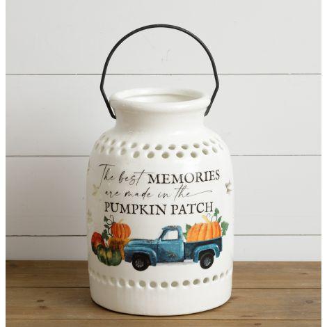 Ceramic Luminary - Pumpkin Patch