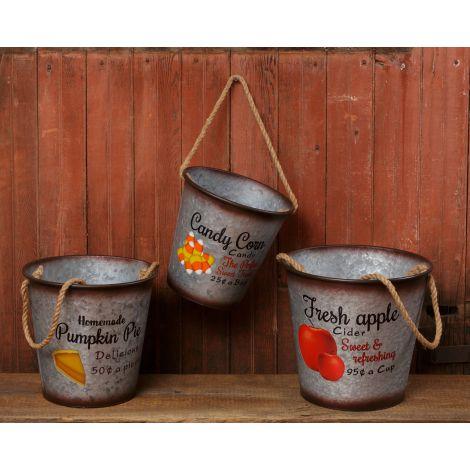 Buckets - Fresh Apple Cider, Pumpkin Pie, Candy Corn