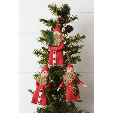 Ornaments - Primitive Santas Holding Greens