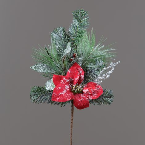 Branch - Poinsettias, Berries, Evergreens, Pinecones (Pk 2)