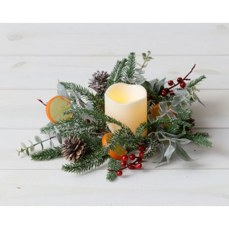 Candle Ring - Frosted Evergreens, Eucalyptus, Berry, Citrus