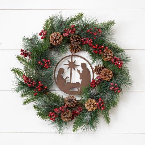 Wreath - Metal Nativity Scene