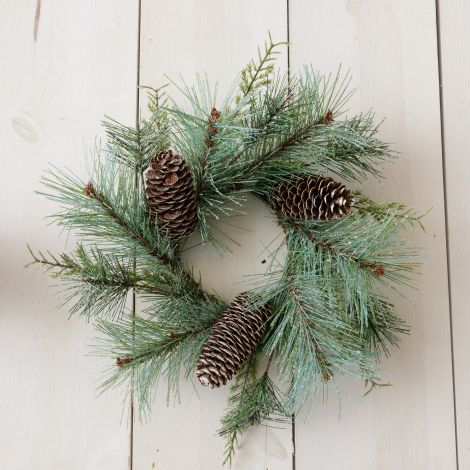 Candle Ring - Frosted Evergreens And Cones (Pk 2)