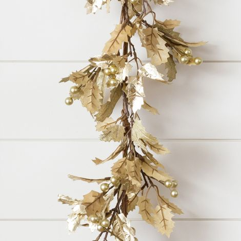 Garland - Shimmer Gold Holly And Gold Berries