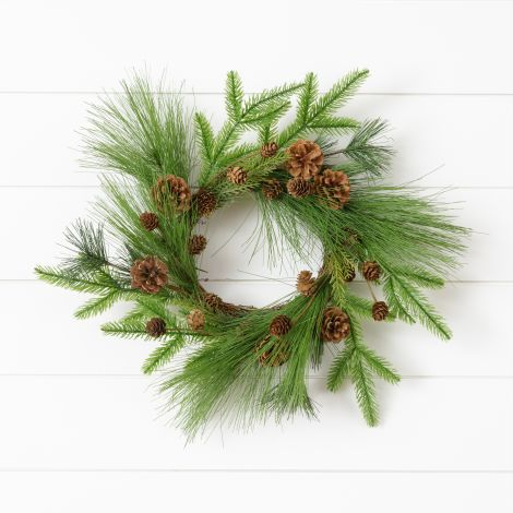 Wreath - Mixed Evergreens, Asst. Cones, Twig Base