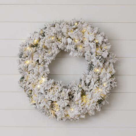 Pre-Lit Flocked Wreath