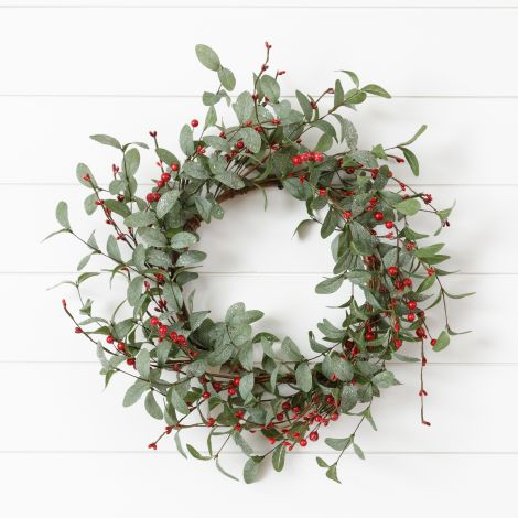Wreath - Frosted Foliage And Assorted Berries