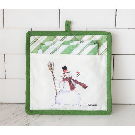 Pot Holder and Tea Towel - Snowman