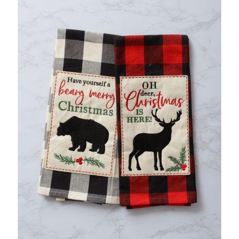 Tea Towels - Buffalo Plaid Bear & Deer (Pk 2)