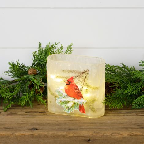 Frosted Glass Luminary - Cardinal On Snowy Branch, Square