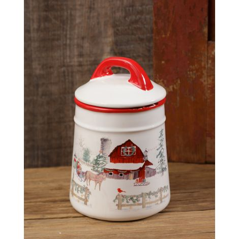 Winter Farmhouse - Small Canister With Wintry Farm Scene