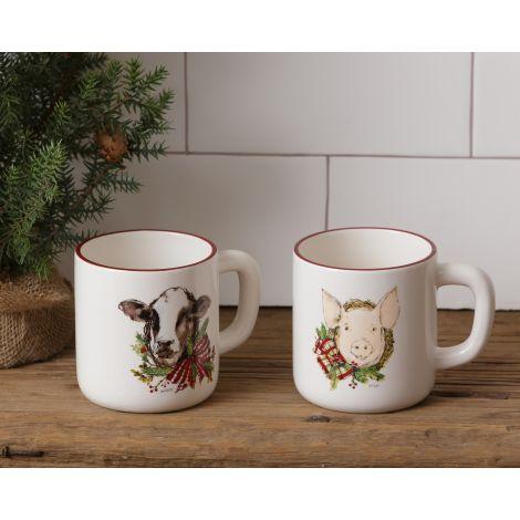 Mug - Farmhouse Christmas, Pig, and Cow