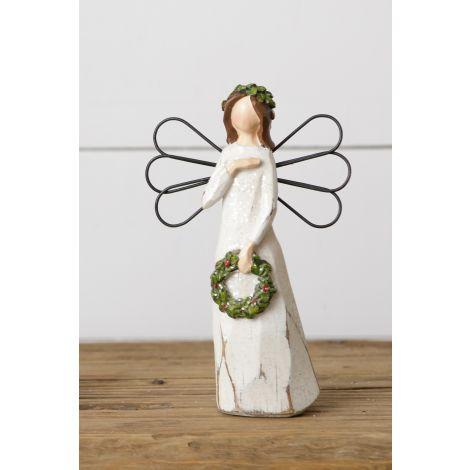 Angel Figurine - Holding Wreath