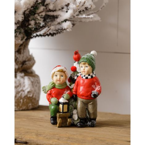 Resin Figurine - Kids with Sled