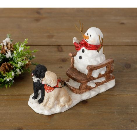 Dog Pulling Snowman On Sleigh Figurine
