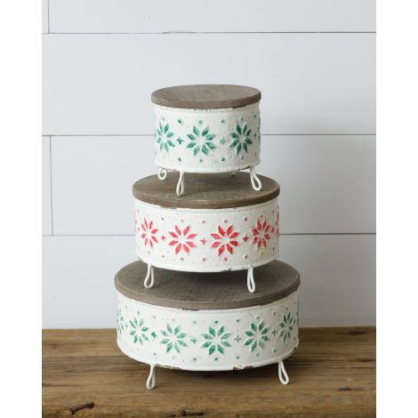 Decorative Stands - Fair Isle, Red and Green