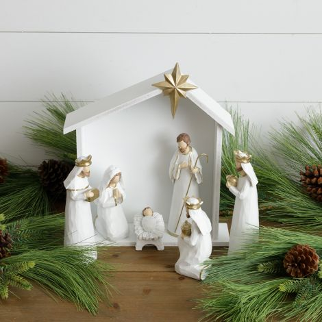 6 Piece Nativity Set With Stable