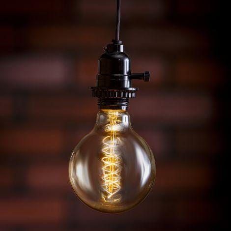 Edison Style Bulb - 60W, Base E27, Spiral Filament (Pk 2)