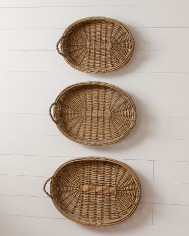 Willow Baskets with Beaded Handles, Oval