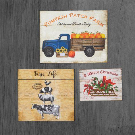 Magnets - Farm Life, Pumpkin Patch, Merry Christmas (Pk/6)
