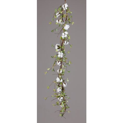 Garland - Twig Base Cotton Miniature Green Leaves