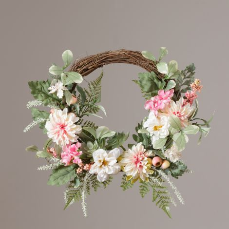 Wreath - Twig Base, Asstorted Pink & White Flowers