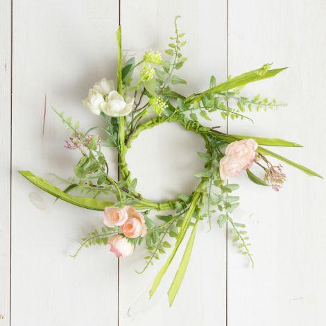 Candle Ring - Miniature Roses, Foliage (Pk 2)