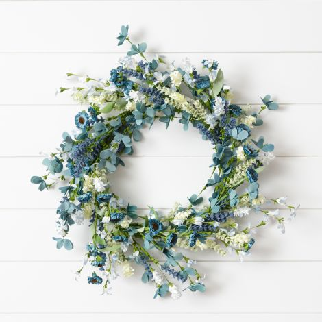 Wreath - Shades Of Blue Flowers And Foliage