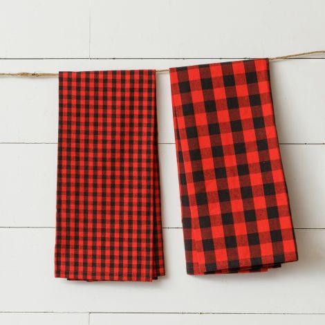 Red And Black Buffalo Plaid Tea Towels