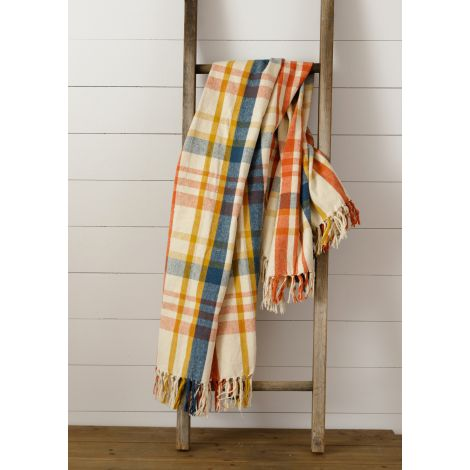 Brushed Cotton Flannel Throw - Navy, Rust, Mustard