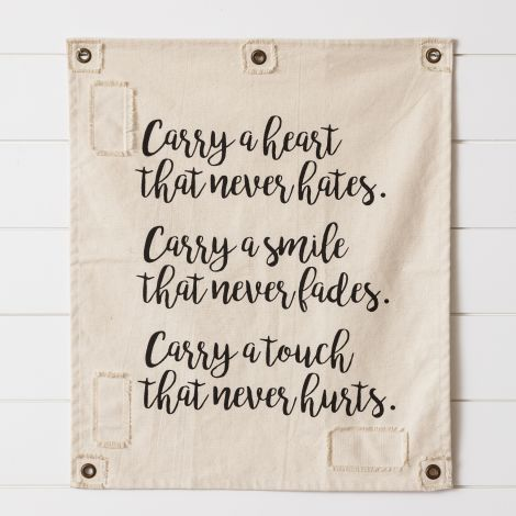 Cotton Wall Hanging - Carry A Heart