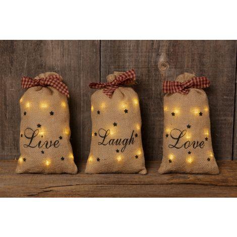 Stuffed Fabric Sacks - Live, Laugh, Love
