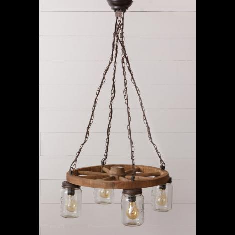 Pendant Light - Wagon Wheel and Mason Jars