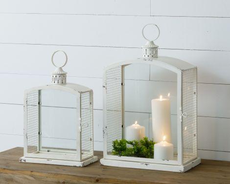 Lantern - Antiqued With Metal Mesh Siding