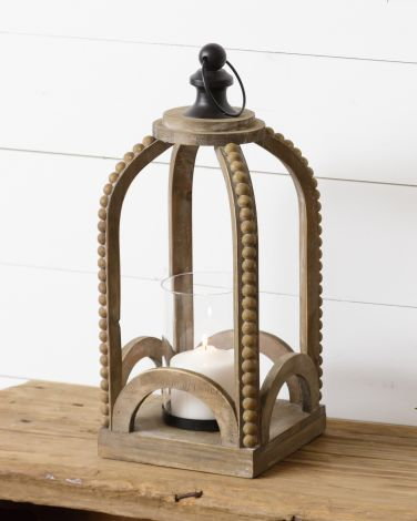 Lantern - Wood With Beading, Sm