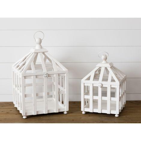 White Greenhouse Style Lantern