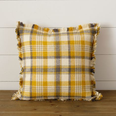 Brushed Cotton Flannel Pillow - Mustard, Warm Gray