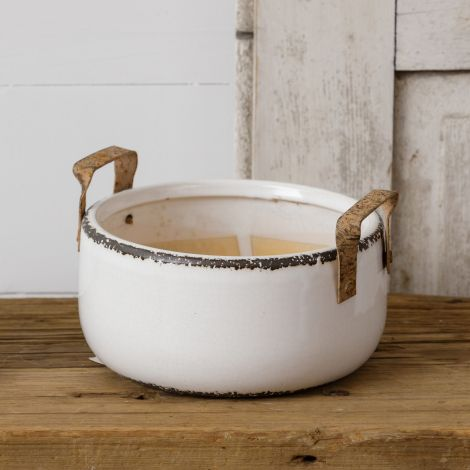 Pottery - Distressed with Metal Handles, Large