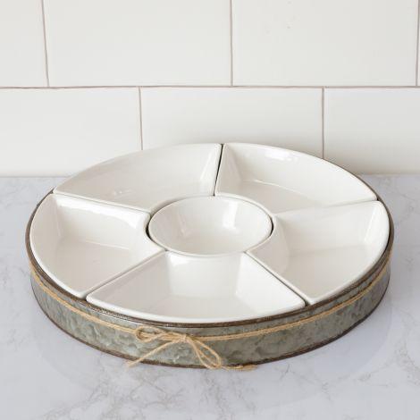 Ceramic 6 Section Dip Bowl Set with Metal Tray